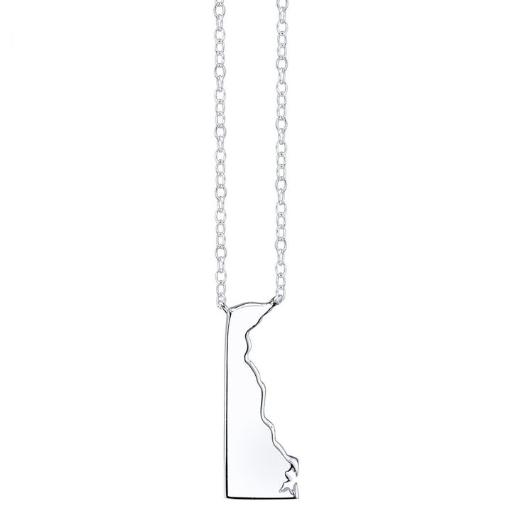 Delaware State Pendant Necklace in Sterling Silver