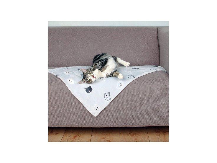 Plyšová deka MIMI 70x50 cm šedá s kočičími hlavami.