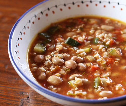 Farro bean soup. Italian recipes. You list the ingrediant you want to use and they will give you a recipe for it!