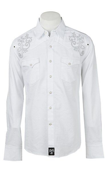 a12b7dcc Rock47 By Wrangler Men's White Embroidered Pearl Snap Western Shirt |  Cavender's