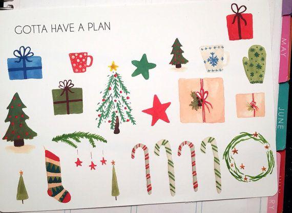 Aquarelle de Noël variété Planner autocollants par GottaHaveAPlan
