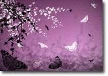 Butterflies and Blossoms Purple  on canvas.  Price: $25  Ships worldwide from http://www.thecanvasartfactory.com.au  #purple #white #children #art #canvas