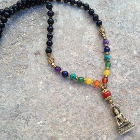 Necklaces - 108 Bead Mala, Multicolor Gemstone Chakra Convertible Necklace With Buddha Pendant