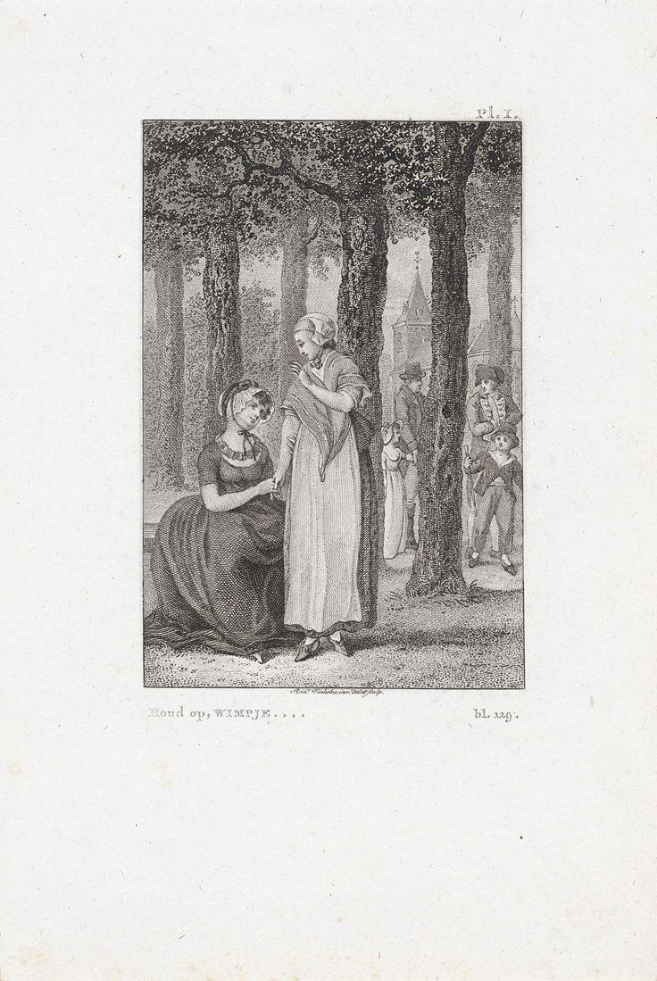 Reinier Vinkeles | Twee jonge vrouwen in gesprek in een bos, Reinier Vinkeles, 1815 | Illustratie bij het verhaal Wilhelmina en Clara van Vroomenstein.
