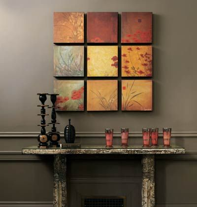 simple art, great effect.  Canvas prints (photos?  wrapping?). Navy edges?