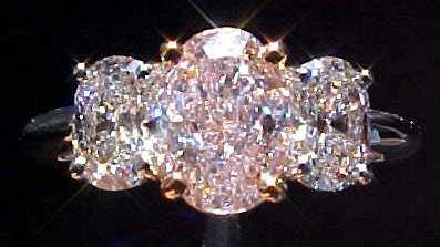 GIA 1.14ct three stone Pink Oval Diamond Ring.....Gorgeous!!! I want!!