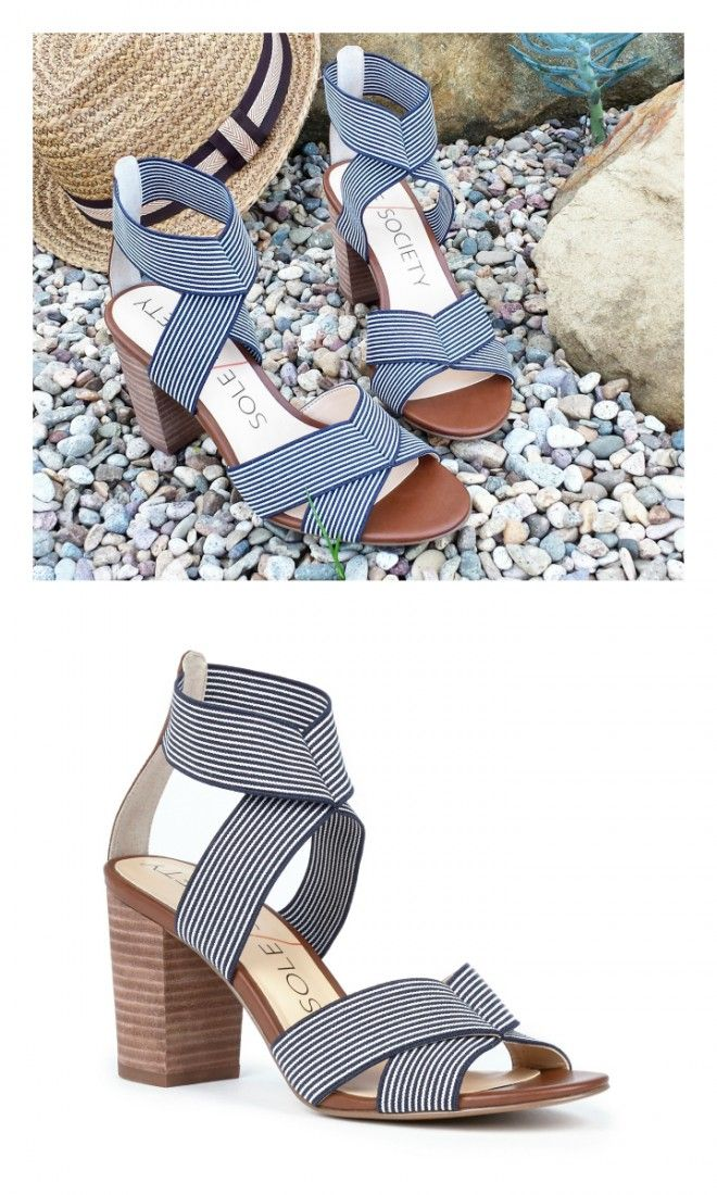 Striped strappy elastic sandals with a comfortable stacked leather heel and an open toe crisscrossing front