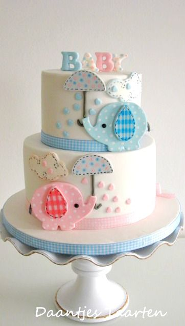 Elephant Baby Shower Cake - twins like the photo with an elephant each colour or you could use this as a gender reveal or change the colours for the relevant sex. Gorgeous elephant theme