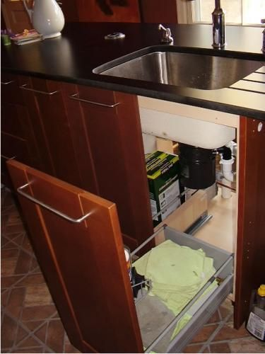 Slide Out Drawers On Base Of Both Sides Of Undersink Cabinet    Ikea Kitchen
