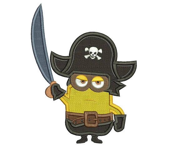 Pirate Minion Filled Embroidery Design 3 sizes