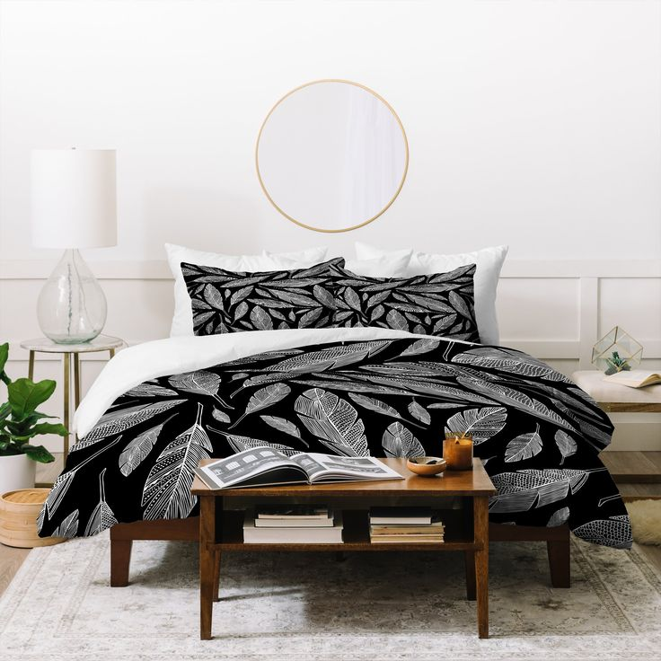 Float Like A Feather Black Duvet Cover Heather Dutton