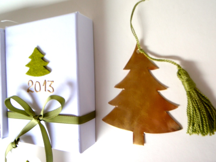 Handmade christmas tree for christmas ornament or new years charm rapped as a gift with gift tag. $23.00, via Etsy.
