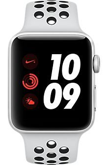 Apple Watch Series 3, 42mm Silver Aluminum Case with Pure Platinum/Black Nike Sport Band, Silver/Pure Platinum