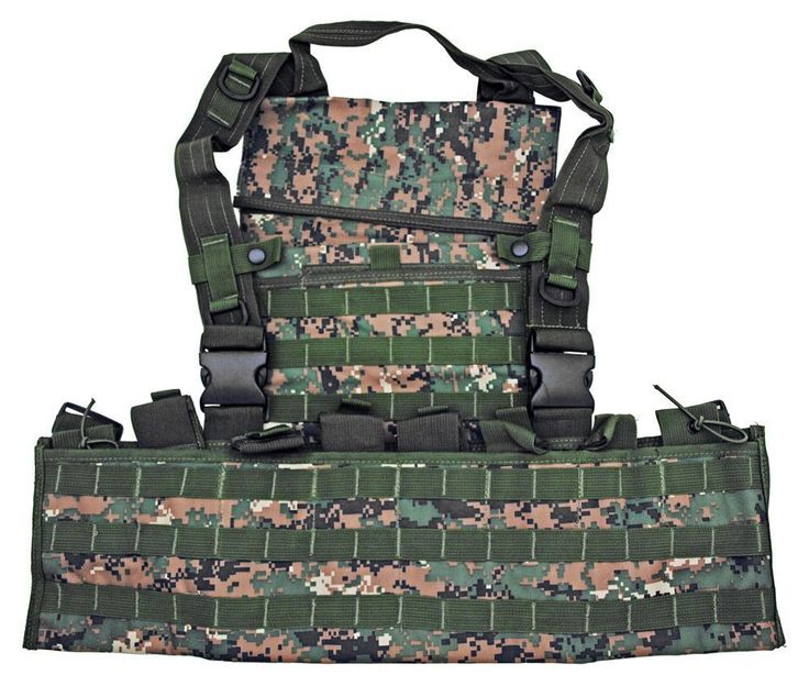 Molle Tactical Chest Rig Airsoft Modular Vest Digital Woodland Camo 25042DWL…