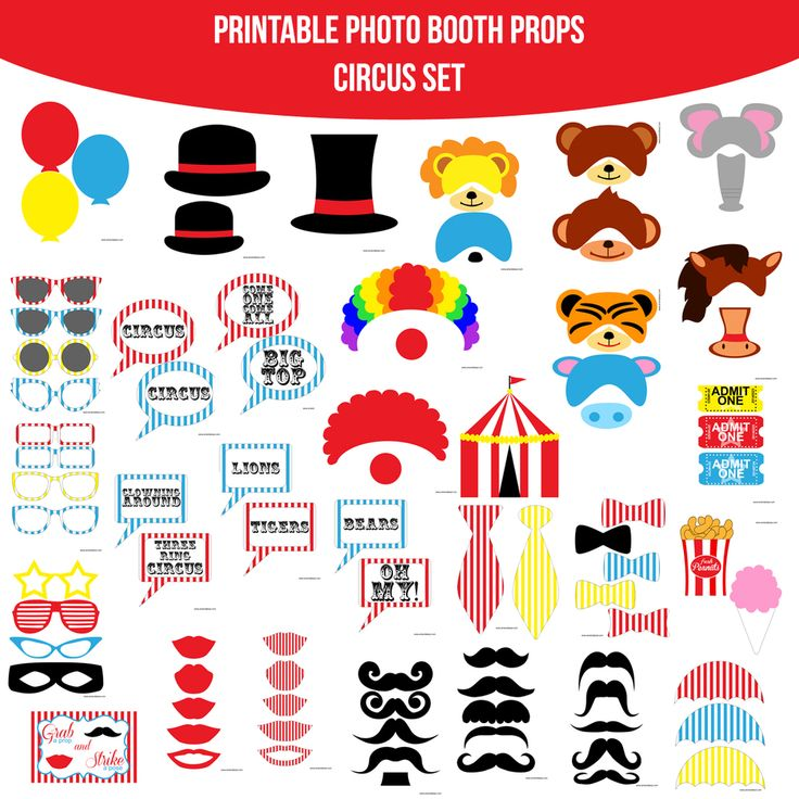 ♥ This set of Photobooth props has 30 pages and includes:  5 Bowties  15 Mustaches  11 Glasses  1 Mask  10 Lips  3 Hats  2 Ties  3 Balloons  2 Clown Hair and Nose Sets  1 Tent  Lion Set  Seal Set  Bear Set  Monkey Set  Elephant Set  Tiger Set  Hippo Set  Horse Set  3 Tickets  1 Bag of Peanuts  1 Cotton Candy  3 Umbrella Toppers  10 Speech Bubble Signs  1 Table Sign  and instructions