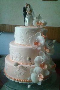 Персиковые орхидеи #торт_на_заказ_васильков #ярусные #бисквитный_торт