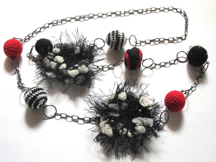 collar crochet y fieltro