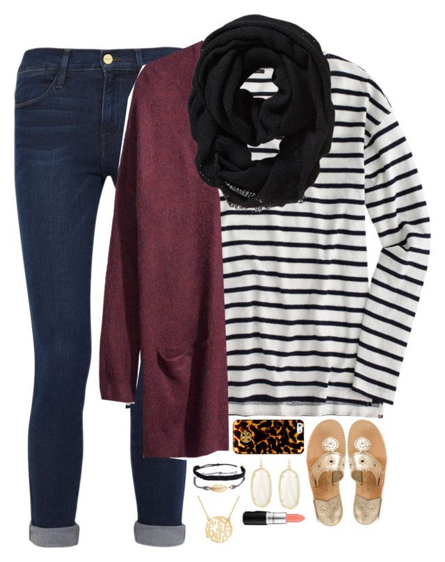 """#ootd Going to a party"" by thedancersophie ❤ liked on Polyvore featuring moda, Jack Rogers, J.Crew, Frame Denim, H&M, Old Navy, Pura Vida, Tory Burch, Kendra Scott i MAC Cosmetics"