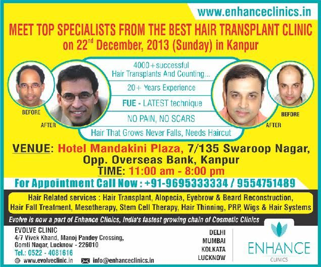Enhance Clinics in Kanpur  Hair Regrowth Results Visit http://www.enhanceclinics.in/hairlossmain for more.