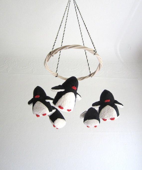 baby crib mobile, penguins, baby, black, white, nursery decor, penguin, shower gift, new baby, eco friendly, cosy, organic kids, modern