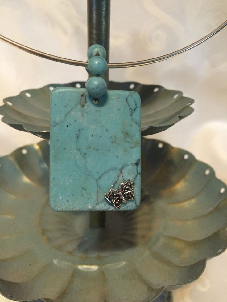 Blue howlite Necklace Dragonfly necklace Dragonfly Stone necklace by DawningsCustomDesign on Etsy
