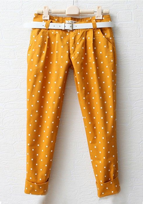 Yellow Polka Dot Low Waist Cotton Pants