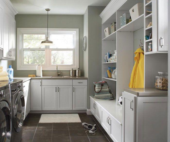 Grey laundry room mud