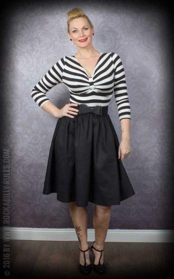 Lindy Bop - Langarm Swingkleid Sinead, schwarz-weiß gestreift black white stripes swing dress  zwart wit gestreepte jurk 1950s style