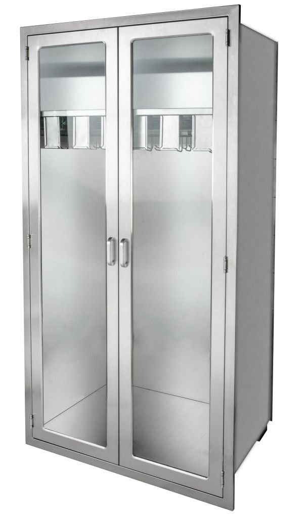 Stainless Steel Catheter Storage Cabinet Continental Metal Products with full extension pull out catheter slides and glass doors .