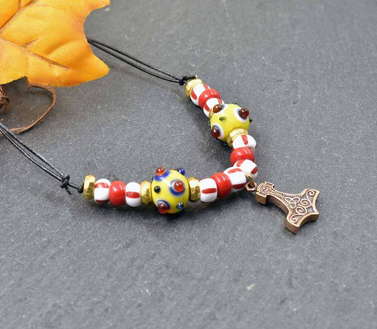 Wikinger Kette für Kinder Thorshammer / Mjölnir / Glasperlen / Augenperlen / Mittelalter Schmuck / Kindergeburtstag / Kelten /  Childrens Jewelry / Necklace for Children / Mjolnir Necklace / celtic / Medieval necklace