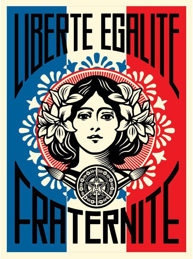 """De nombreux artistes réagissent en dessins pour rendre hommage aux victimes des attaques terroristes qui ont endeuillé la France. La dernière œuvre en date nous vient du célèbre artiste américain engagé Frank Shepard Fairey. Voici le texte qu'il a écrit sur son site internet : """"I'm with the people of Paris, in spirit and in…"""