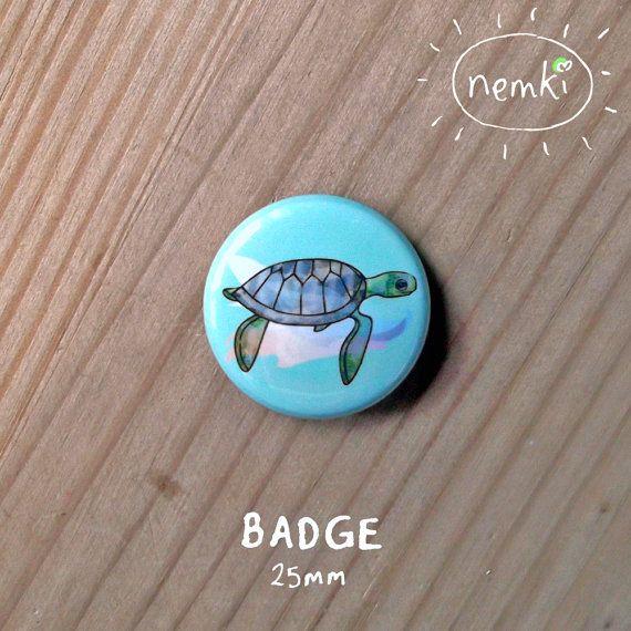 Turtle 25mm Badge Printed Metal by nemki on Etsy, £1.00