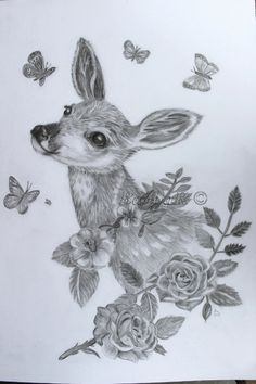 Glicee Print deer and roses baby woodland animal by Forestartwork, $18.00