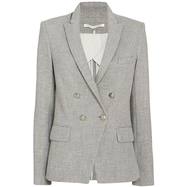 Veronica Beard Cut Away Hem Double Breasted Blazer: Grey ($650) ❤ liked on Polyvore featuring outerwear, jackets, blazers, grey, grey blazer, veronica beard, gray blazer, veronica beard blazer and pocket jacket