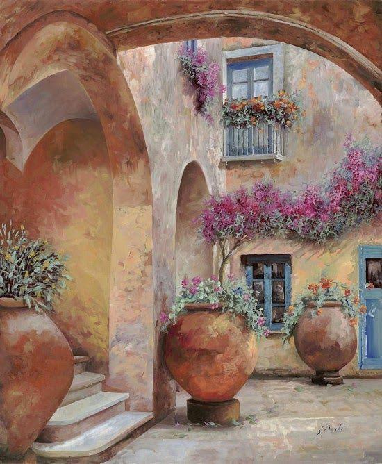 Por Amor al Arte: El virtuosismo en las pinturas de Guido Borelli paisaje tradicional Italiano.