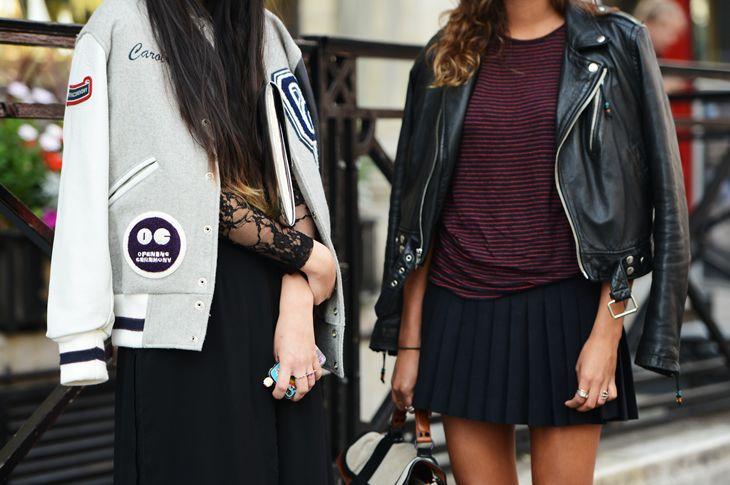 navy skirt. black jacket.