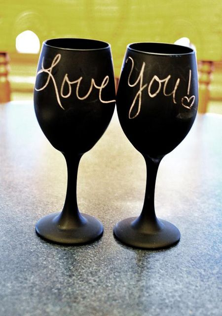 17 best images about chalkboard on pinterest broken for Spray painting wine glasses