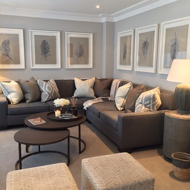 See This Instagram Photo By Sophiepatersoninteriors O 1458 Likes Living Room LayoutsLiving IdeasLiving With Gray WallsLiving RoomsBrown Couch
