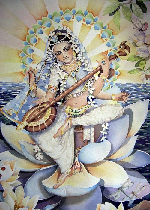 Saraswati, goddess of knowledge and the arts, embodies the wisdom of Devi. She is the river of consciousness that enlivens creation; she is the dawn-goddess whose rays dispel the darkness of ignorance. Without her there is only chaos and confusion. To realize her one must go beyond the pleasures of the senses and rejoice in the serenity of the spirit. Saraswati wears neither jewels or paints herself with bright colors. The white sari she adorns reflects her essential purity.