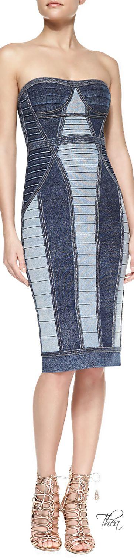 Denim and jeans / karen cox.  Herve Leger ● Bandage dress in denim look