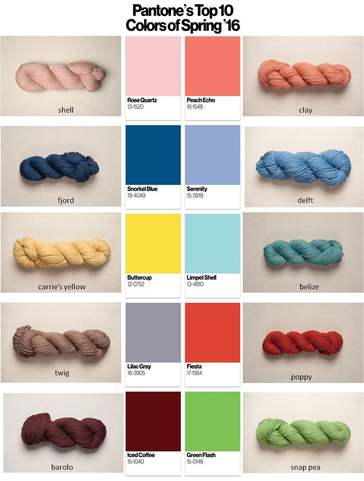 Yarn choices for Pantone Spring 2016 colors, all from the Osprey line from #quinceandco