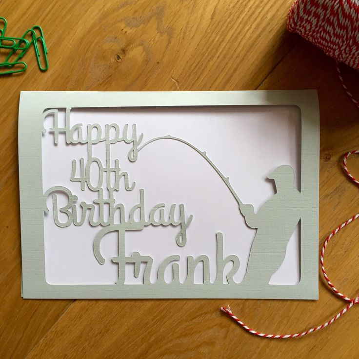 New to weheartcards on Etsy: Birthday Greetings Angler Fisherman Papercut card - fishing rod fishing pole - personalized custom card for Him - Keepsake Personalised card (17.95 GBP)