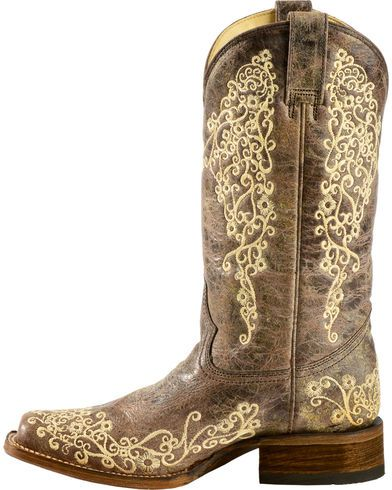 Corral Brown Crater Embroidered Cowgirl Boots - Square Toe - Country Outfitter
