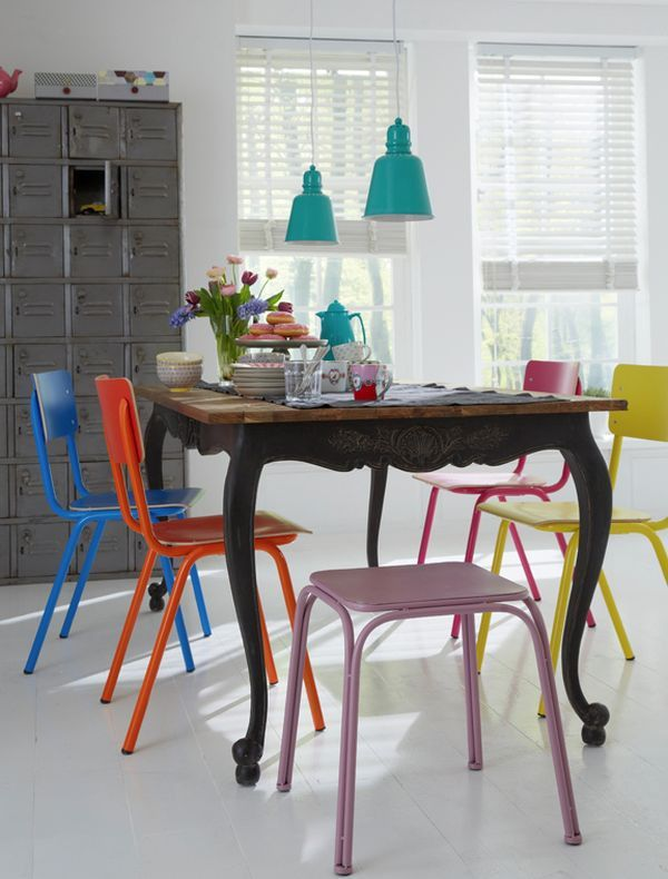 49 Simple Dining Room Multicolored Chairs Ideas Colored Dining