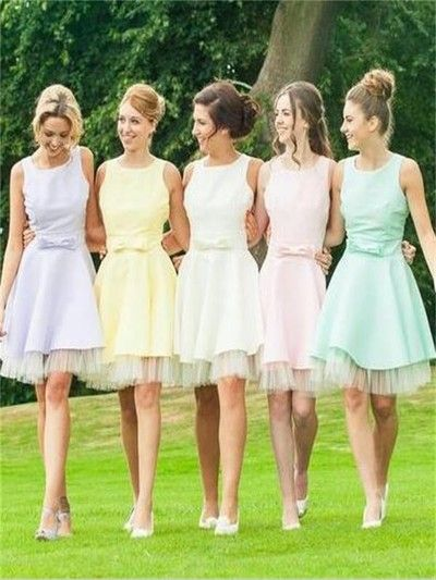 Short bridesmaid dress,scoop bridesmaid dress,colorful bridesmaid dress,cute bridesmaid dress,bridesmaid dress with bowknot, PD210503