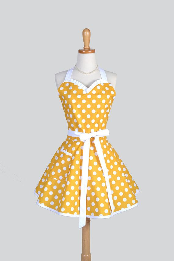 Vintage Style Retro Rockabilly Polka Dot Sweetheart Cooking Apron in Variety of Colors - Creative Chics - 1