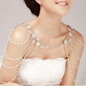 Bijoux d'épaule en perles et strass