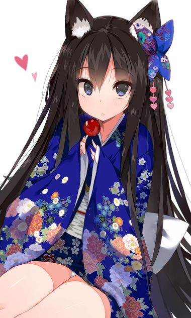 Hair Candy Apple Cat Ears Eyebrows Visible Through Floral Print Between Eyes Ornament Heart Holding Japanese Clothes Kimono Long