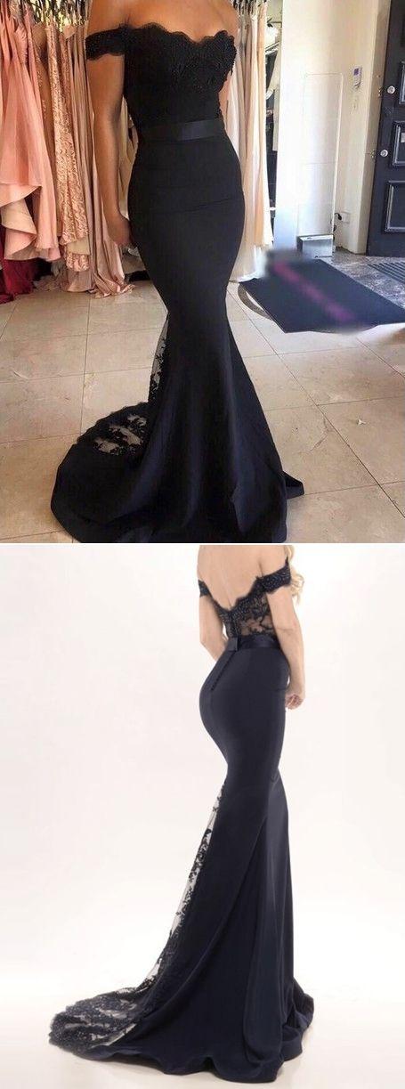 Black Lace Off-the-Shoulder Mermaid Satin Prom Dresses 2017