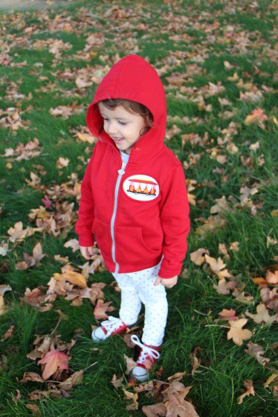Daniel Tiger's Neighborhood Trolley Red Zip-Up Hoodie Sweater - Hooded Sweatshirt Mr. Roger's PBS Kids Toddler Birthday Outfit Shirt Jacket